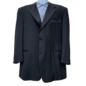 Canali Peak Lapel Solid Black Tuxedo Jacket 52L
